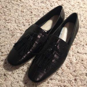 Zara genuine leather croc pattern tassel loafers